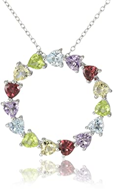 Sterling Silver Multi-Gemstone Heart Circle Pendant Necklace, 18″ $49.00
