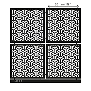 LUCY CLAY Microstencils Texture Sheets for Polymer Clay 3.12 x 3.12 5-pcs Set (Microstencils Set 1) (Color: Microstencils SET 1)