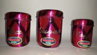 Stainless Steel Style Tea, Coffee & Sugar Canister/ Container Set- DARK PINK , Set of 3
