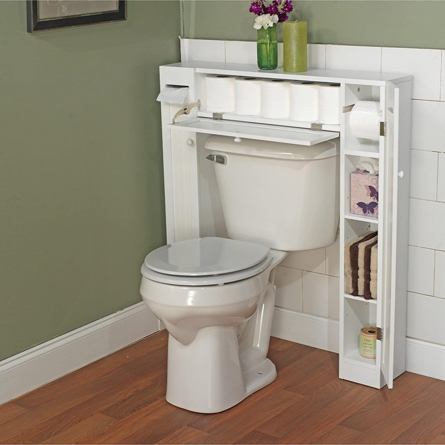 Over toilet cabinet storage bathroom home organizer shower for Bathroom cabinets above toilet