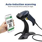 TEEMI T26 QR Barcode Scanner with Stand Handheld Automatic USB Wired 1D 2D bar Codes Digital Coupon Code scan Support Data Format (Tamaño: Scanner + Stand)