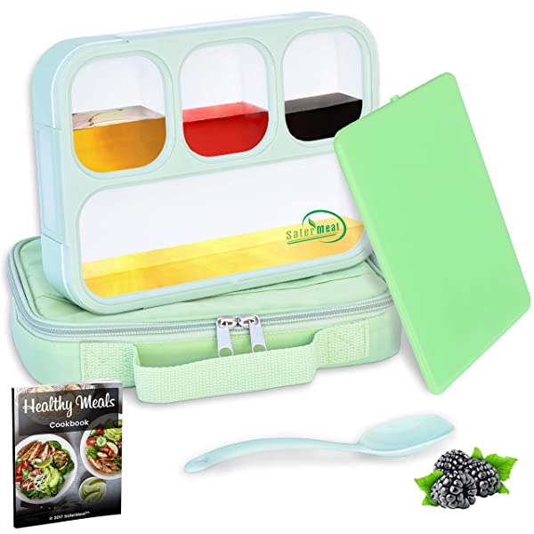 Bento Lunch Box Set | Eco-Friendly, BPA Free, Leakproof Container & Airtight Lid | For Healthy, Dry & Liquid Food, Portion Control, Meal Prep, Adults & Kids | Includes Spoon & lunch bag | By SaferMeal (Color: Green)