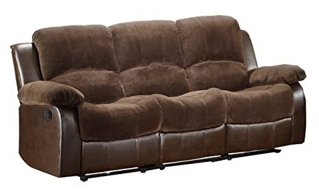 Homelegance 9700FCP-3PW Plushy Rolled Tufted Power Reclining Motion Microfiber  Sofa, Brown