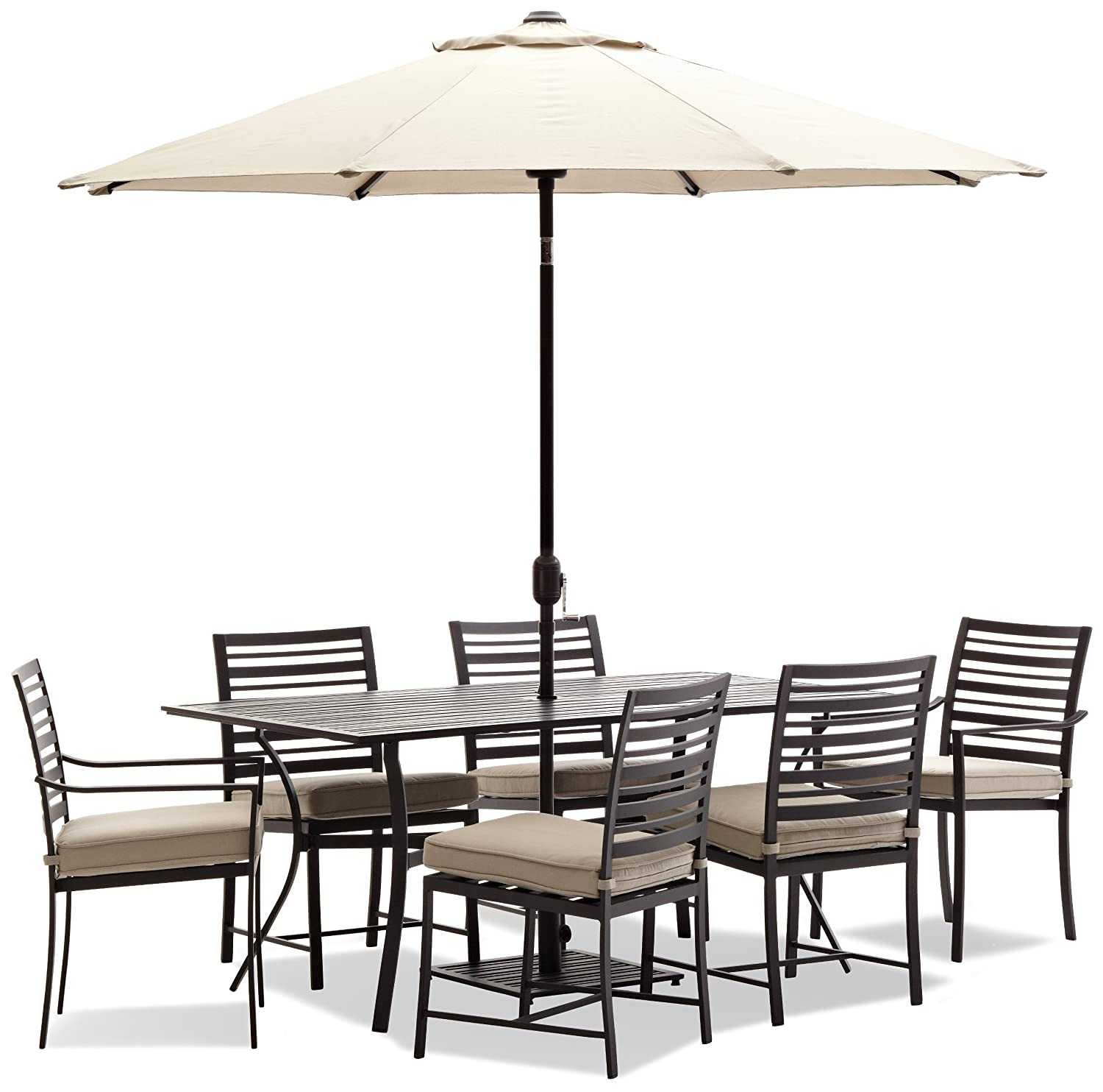 Rectangular Dining Table 6 Seater Outdoor Aluminum Black