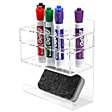 MyGift Wall-Mounted 2-Tier Clear Acrylic 10-Slot Dry Erase Whiteboard Marker and Eraser Holder Stand (Color: Clear, Tamaño: S)