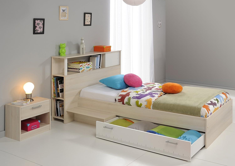 Jugendzimmer mit Bett 90 x 200 cm weiss/ Akazie