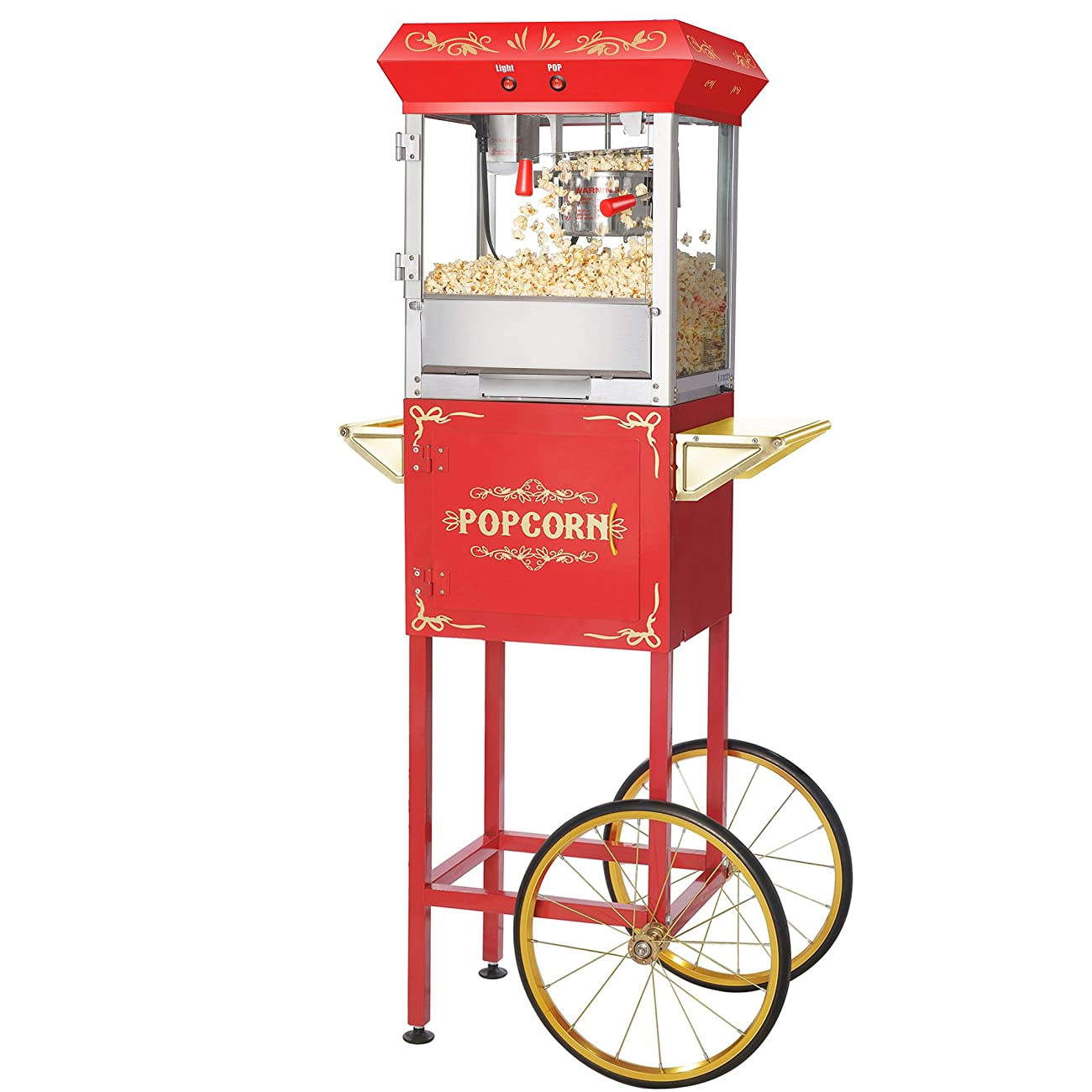 Great Northern Popcorn Red 6 oz. Ounce Foundation Vintage Style Popcorn Machine and Cart 1