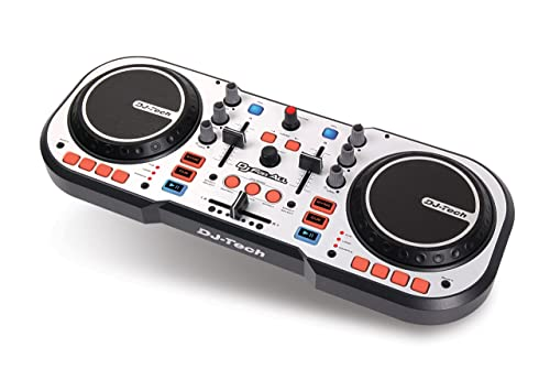 DJ TECH DJ For ALL - Controlador de DJ (USB, tipo scratch), color plateado