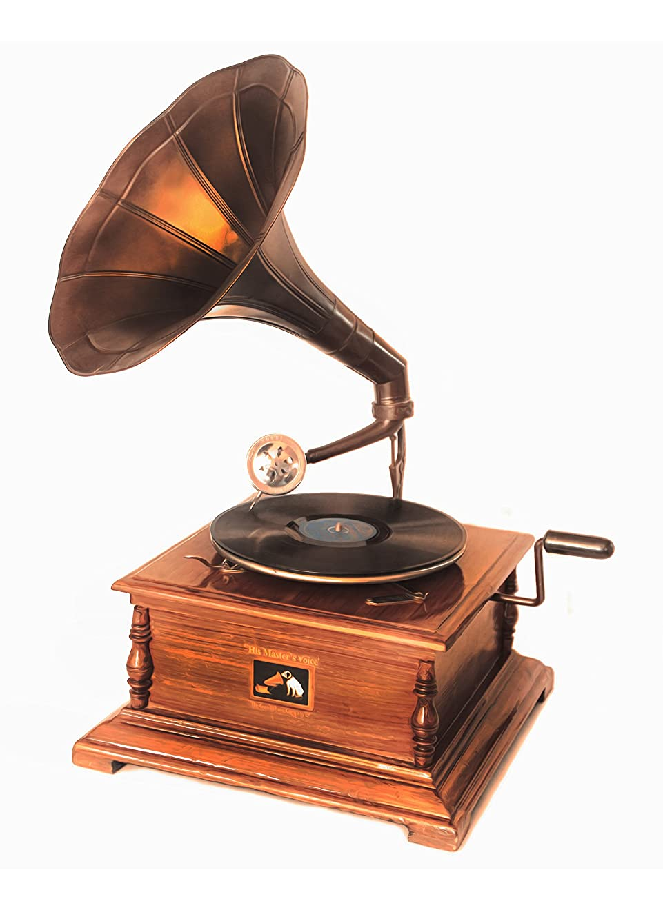 WinnerBrown Home Décor Metal Wood Brass Antique Finish Gramophone Record Player, 27 inch 2