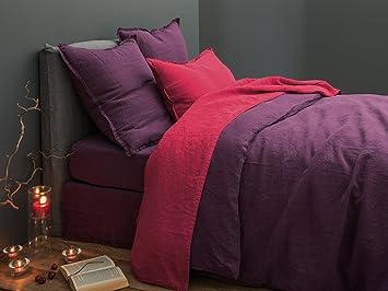 faleni housse de couette lin lav uni prune blanc cerise 260x240 cm vos produits. Black Bedroom Furniture Sets. Home Design Ideas