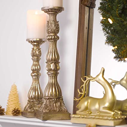 Gold Antique Style Candleholders - Set Of 2 by Raz Imports