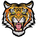 Tiger Patch Large Embroidered Iron-On Applique Roaring Bengal Striped Souvenir (Color: Orange, Tamaño: 9.25-inches)