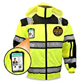 KwikSafety (Charlotte, NC) ENFORCER | Class 3 Safety Bomber Jacket | High Visibility ANSI Compliant OSHA | Detachable Chest iPocket Foldable Hoodie Thermal Lining Construction Work Wear | XX-Large (Color: ENFORCER | Class 3 Fishbone Bomber | Qty: 1, Tamaño: XX-Large)