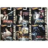 Star Wars Pop Culture Hot Wheels Car Set, 2015 Luke Skywalker, Han Solo, Princess Leia, R2D2 & C3PO Droids, Darth Vader (Color: gold, black, blue, orange, white, Tamaño: 1:64)