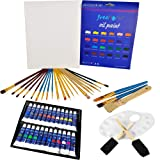 Deluxe Oil Paint Set - 24 Paints, 25 Brushes, 1 Canvas, and Art Palette - Oil Painting Supplies for Kids and Adults, Paint Supplies (Color: Blue, Red, Yellow, Green, Orange, White, Black, Purple, Tamaño: Large)