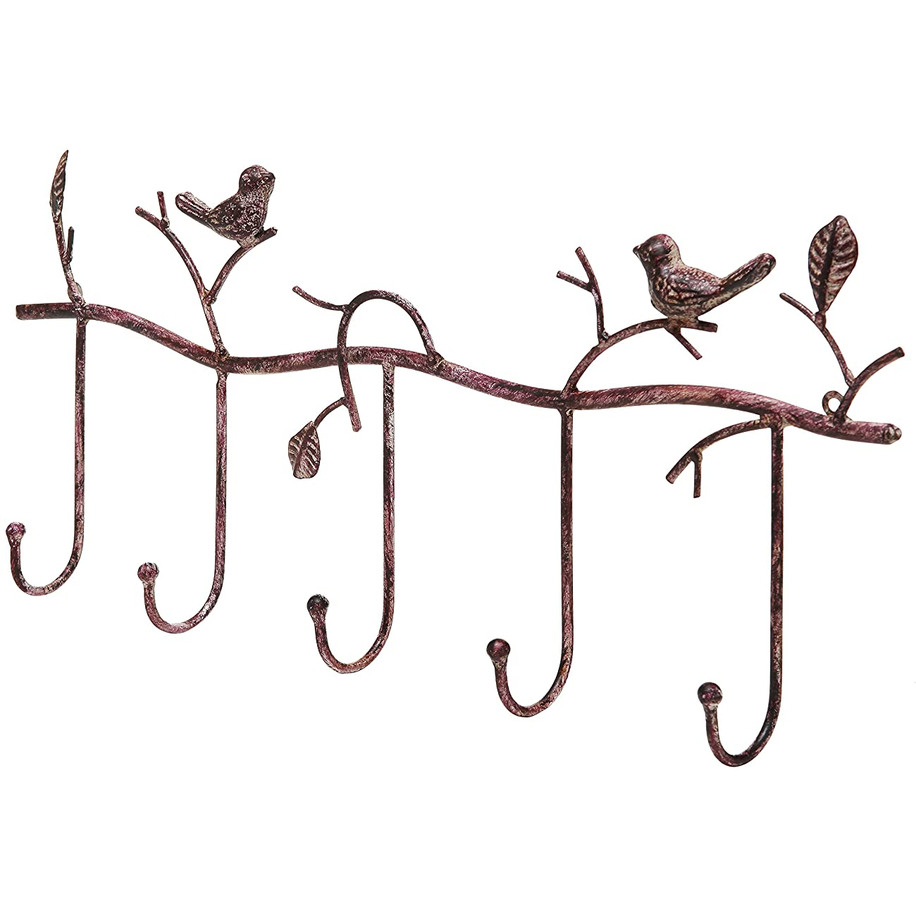 Decorative Rustic Tree Branch & Birds Wall Mounted Metal 5 Coat Hook Clothing / Towel Hanger Storage Rack 0