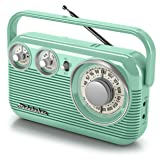 Studebaker SB2003 Retro Portable AM/FM Radio AC or Battery Operated (Teal) (Color: teal)
