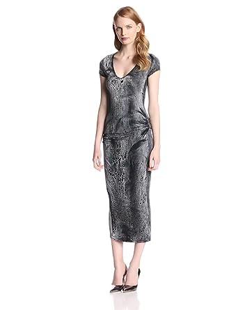 Young Fabulous & Broke Women's Araya Short Sleeve Sheath Dress, Black Crackle Wash, X-Small