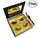 Mink lashes Strip 3D 100% Siberian Mink Fur Soft and Hand Made Makeup False Eyelashes 2 Different Pairs with Mirror Box & Tweezers