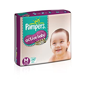 Image result for Pampers Active Baby Medium Size Diapers (90 count)