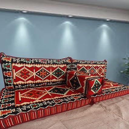 Tribal suelo asiento, hecho a mano sofá para suelo, Majlis árabe, Árabe Jalsa, suelo asiento sofá, cojines, Oriental, sala de estar decoración, Kilim de suelo asiento, pipa de barra muebles sofá Set, suelo sof&aac