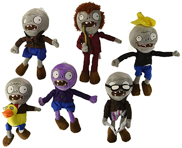 OLIA DESIGN OliaDesign Zombie Plush (Set of 6 ), Purple/Grey, 28cm (Color: Purple/Grey, Tamaño: 11 inches)