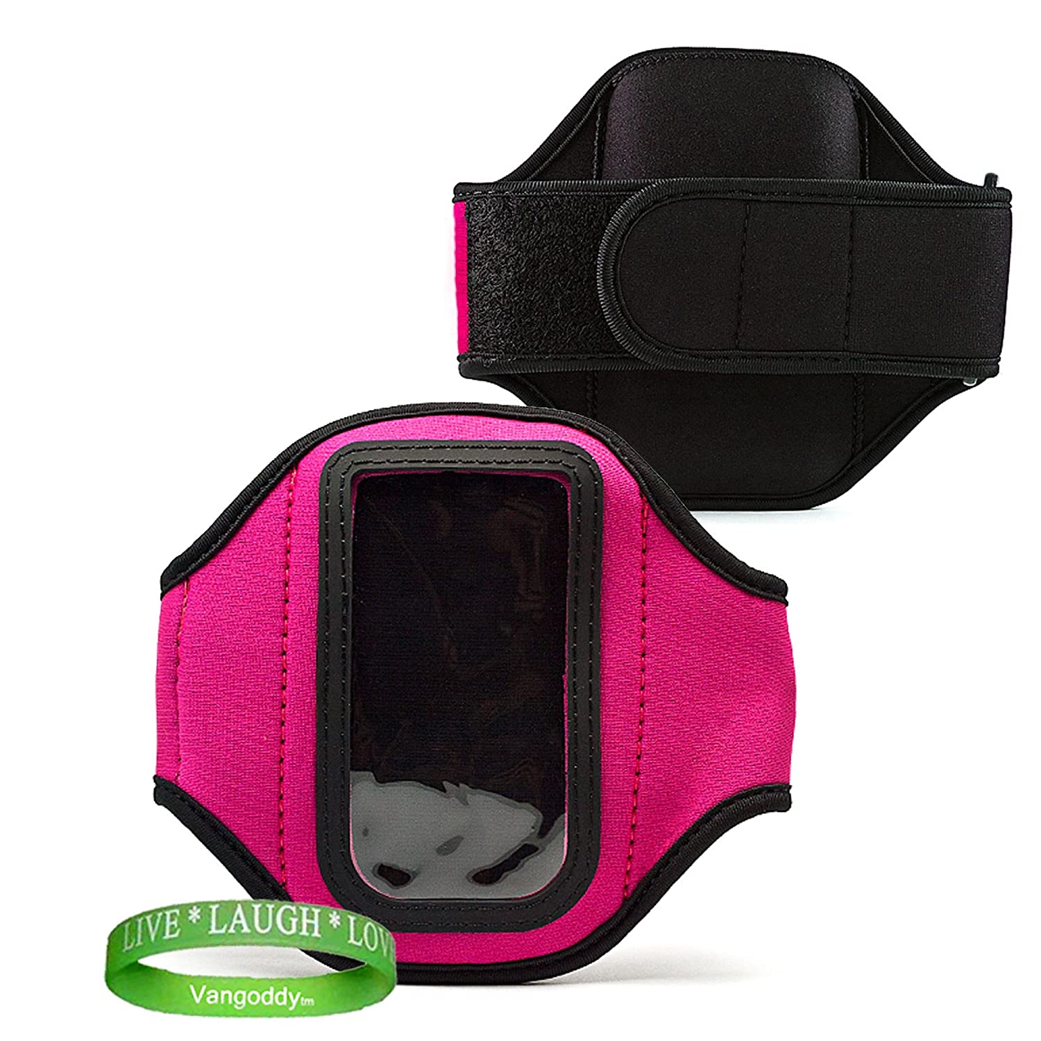 Elegant OEM VG Brand (PINK) Armband with Sweat Resistant Lining and Unique Key Pocket for Samsung Pantech Burst Smart Phone + Live * Laugh * Love VanGoddy Wrist Band!!! pantech vega lte ex