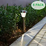 voona Solar LED Outdoor Lights 8-Pack Stainless Steel Pathway Landscape Lights for Outdoor Path Patio Yard Deck Driveway and Garden, (Silver) (Color: Silver)