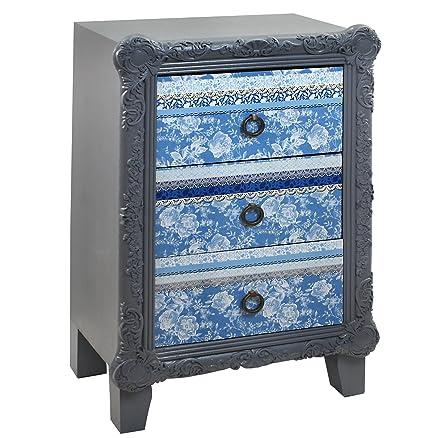 Blue Delf Signes Grimalt-Comodino, 3 cassetti, 48 x 33 x 75 cm