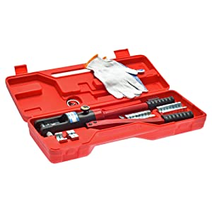 16 Ton Hydraulic Wire Crimping Tool - Battery Cable Lug Terminal Crimper with 12 Sets of Die Pairs, 10mm2 to 300mm2 (Color: Red)