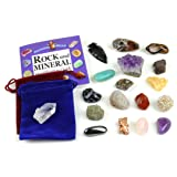 Rock and Mineral Geology Education Collection - 18 Pcs of Gem Stones w Identification book. Box and 2 Velvet Pouches Included! Geology Gem Kit for Kids Dancing Bear Brand