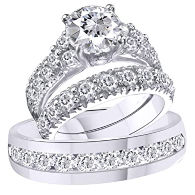Vorra Fashion Rd CZ White Platinum Plated 925 Sterling Silver Trio Wedding Ring Set