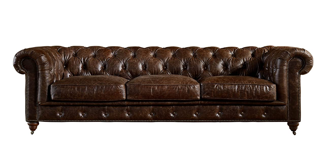 Crafters and Weavers Top Grain Vintage Leather Chesterfield Sofa 1