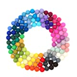 Glaciart One Wool Felt Balls, Felt Pom Pom Balls (120 Pieces) 1.5 Centimeter - 0.6 Inch, Handmade Felted 40 Color (Red, Blue, Yellow, Gray, Pastel and More) Bulk Small Puff for Felting and Garland (Tamaño: 120pcs)