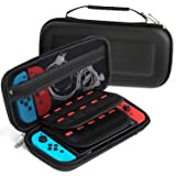 Fosmon Nintendo Switch Carrying Case, Multipurpose Travel Case Protective Hard Shell with Zipper Mesh Pocket, 20 Game Card Holder for Switch Console, Accessories, Cables, Joy-Cons (Black)