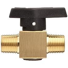 "Parker 2M-PR4-VT-B Brass Plug Valve, 1/8"" NPT Male"