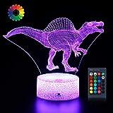 Aibele Dinosaur Night Light 3D Lamp for Kids, 16 Colors Remote Control Dinosaur Creative Lamp, Boys and Girls'Birthday Party Festival Dinosaur Toy Nig