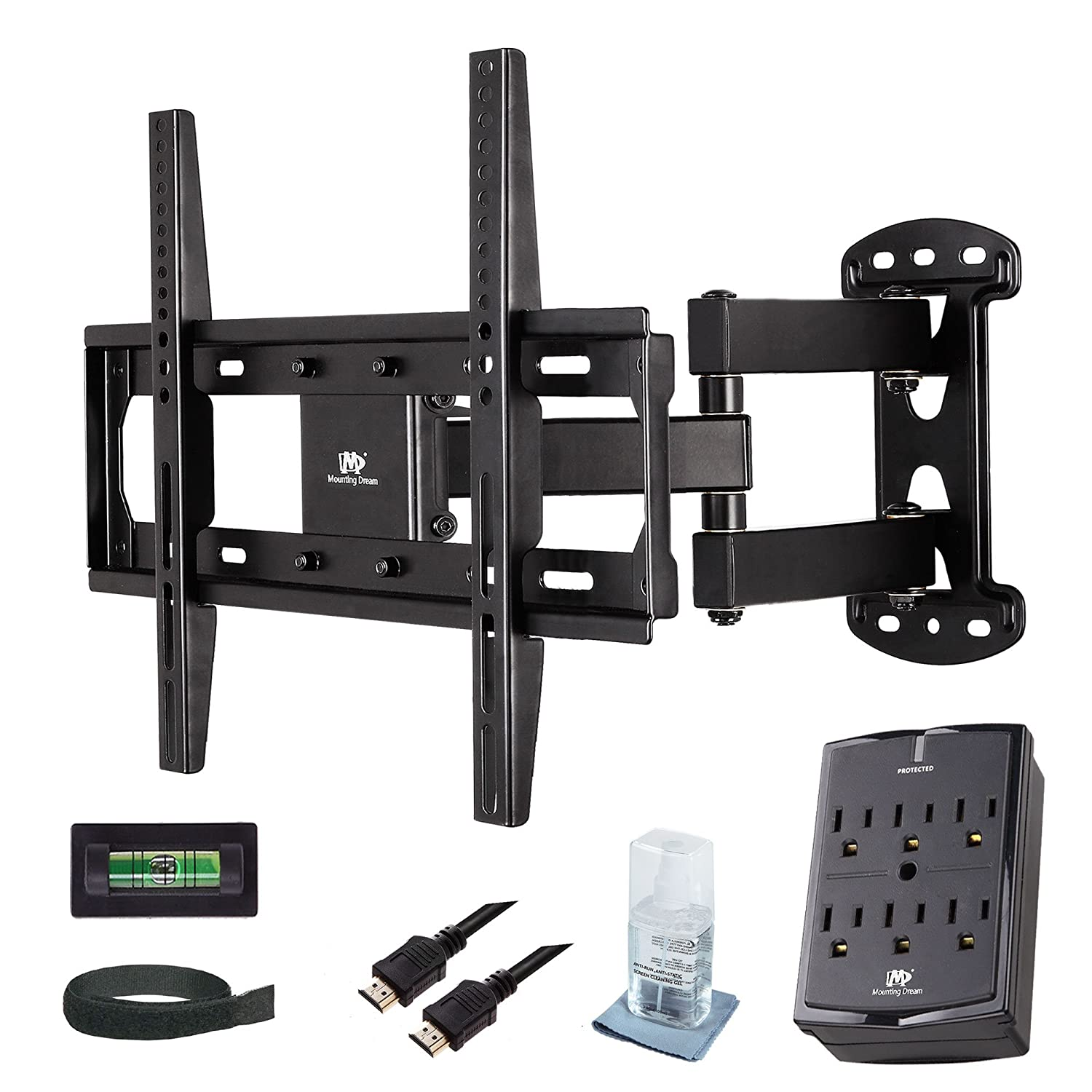Mounting Dream MD2377-KT TV Wall Mount Bracket Kit with Full Motion Articulating Arm 15-Inch Extension for most of 26-55 Inches LED, LCD and Plasma TVs up to VESA 400x400mm and 66lbs (Black)