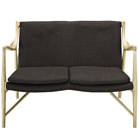 Lexmod Makeshift Upholstered Loveseat, Brown