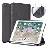 Soke iPad 9.7 2018/2017 Case Pencil Holder, Smart iPad Case Trifold Stand Shockproof Soft TPU Back Cover Auto Sleep/Wake Function iPad 9.7 inch 5th/6th Generation, Dark Grey (Color: Dark Grey)
