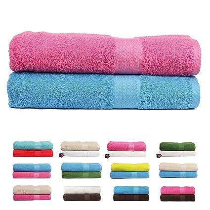 Trident 450GSM Premium Cotton 2 Pcs Bath Towels - Pink & Blue