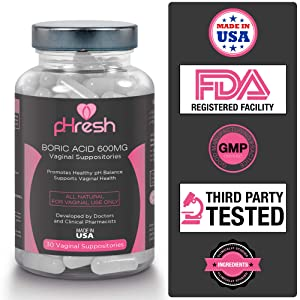 Boric Acid Vaginal Suppositories By Phresh Promotes Healthy Ph