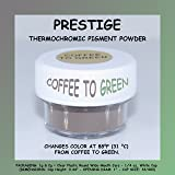PRESTIGE THERMOCHROMIC PIGMENT THAT CHANGES COLOR AT 88°F (31 °C) FROM COLORED TO TRANSPARENT (Colored Below The Temperature, Transparent Above) Perfect For Color Changing Slime! (2g, COFFEE TO GREEN) (Color: COFFEE TO GREEN, Tamaño: 2g)