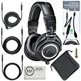 Audio-Technica ATH-M50x Professional Monitor Headphones (Black) + Tekline Active Replacement Cable (Color: Black, Tamaño: ATH-M50x)