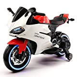 Street Racer 12V Battery Power Motorized Electric Kids Ride-On Motorcycle Bike + EVA Foam Rubber LED Wheels + Leather Seat + MP3 Music Player + Spring Shock Suspension (Red) (Color: Red)