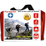 First Response Medical Supplies Compact 130 Piece First Aid Kit Water Resistant Tri-Fold Case For Home Car Camping Hiking (Color: Red, Tamaño: Small)