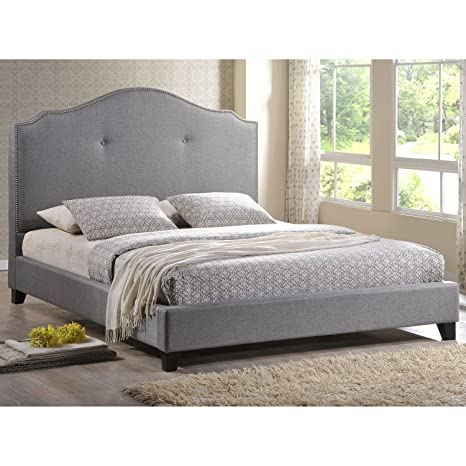 Metro Shop Marsha Scalloped Gray Linen Headboard Full-size Modern Bed-Marsha Scalloped Gray Linen Modern Bed - Full Size