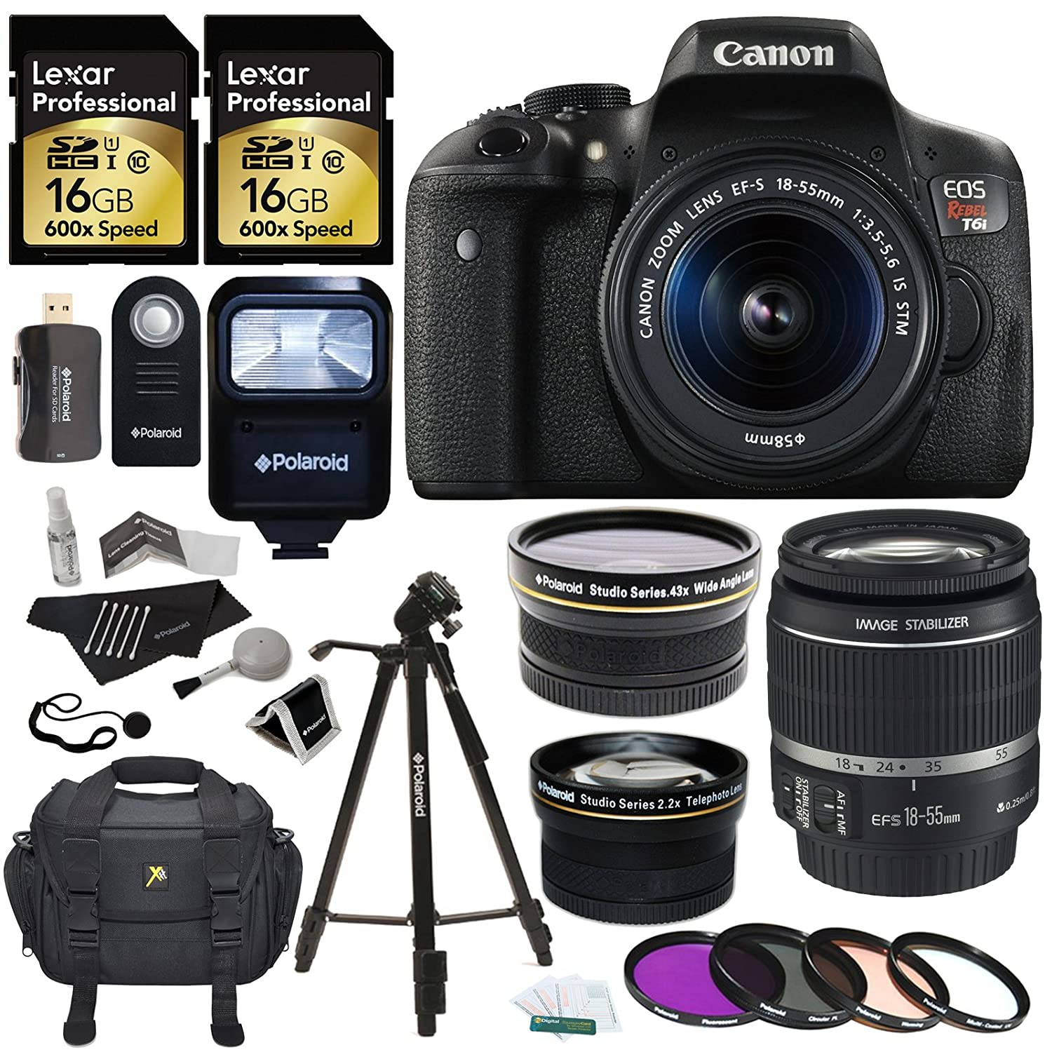Canon EOS Rebel T6i 24.2 MP Digital SLR Camera with 18-55mm f/3.5-5.6 STM Lens + Polaroid Studio Series .43x High Definition Wide Angle Lens  ..