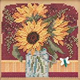 Sunflower Bouquet Beaded Counted Cross Stitch Kit Mill Hill 2019 Buttons & Beads Autumn MH141924 (Color: multi)