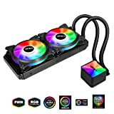upHere High Performance Liquid CPU Cooler 240mm RGB Radiator, All-in-One,Sync,Dual PWM Fans, AM4 Compatible(CC240RGB) (Color: CC240RGB SYNC RGB, Tamaño: 240mm)
